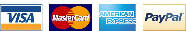 We accept: Mastercard, Visa, American Express and PayPal