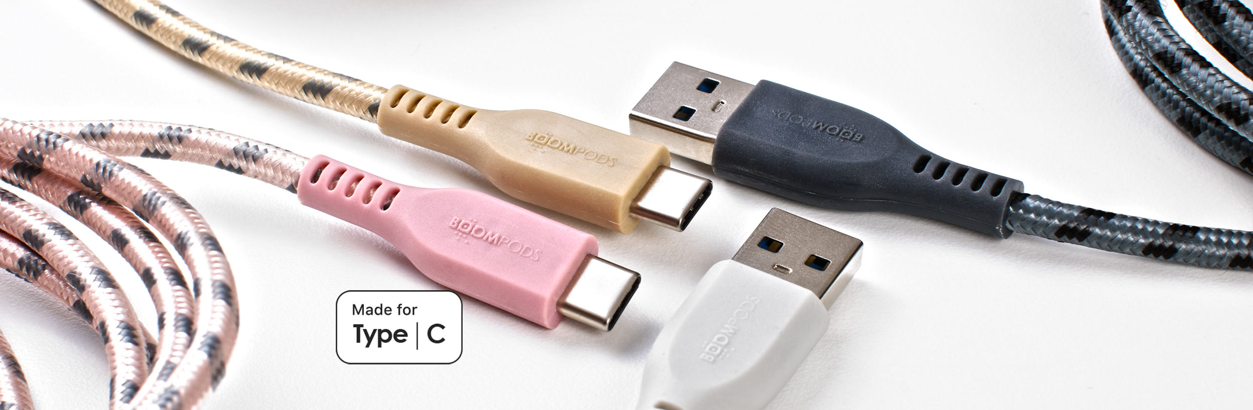 Boompods Retro Armour USB-C to USB-A Cable