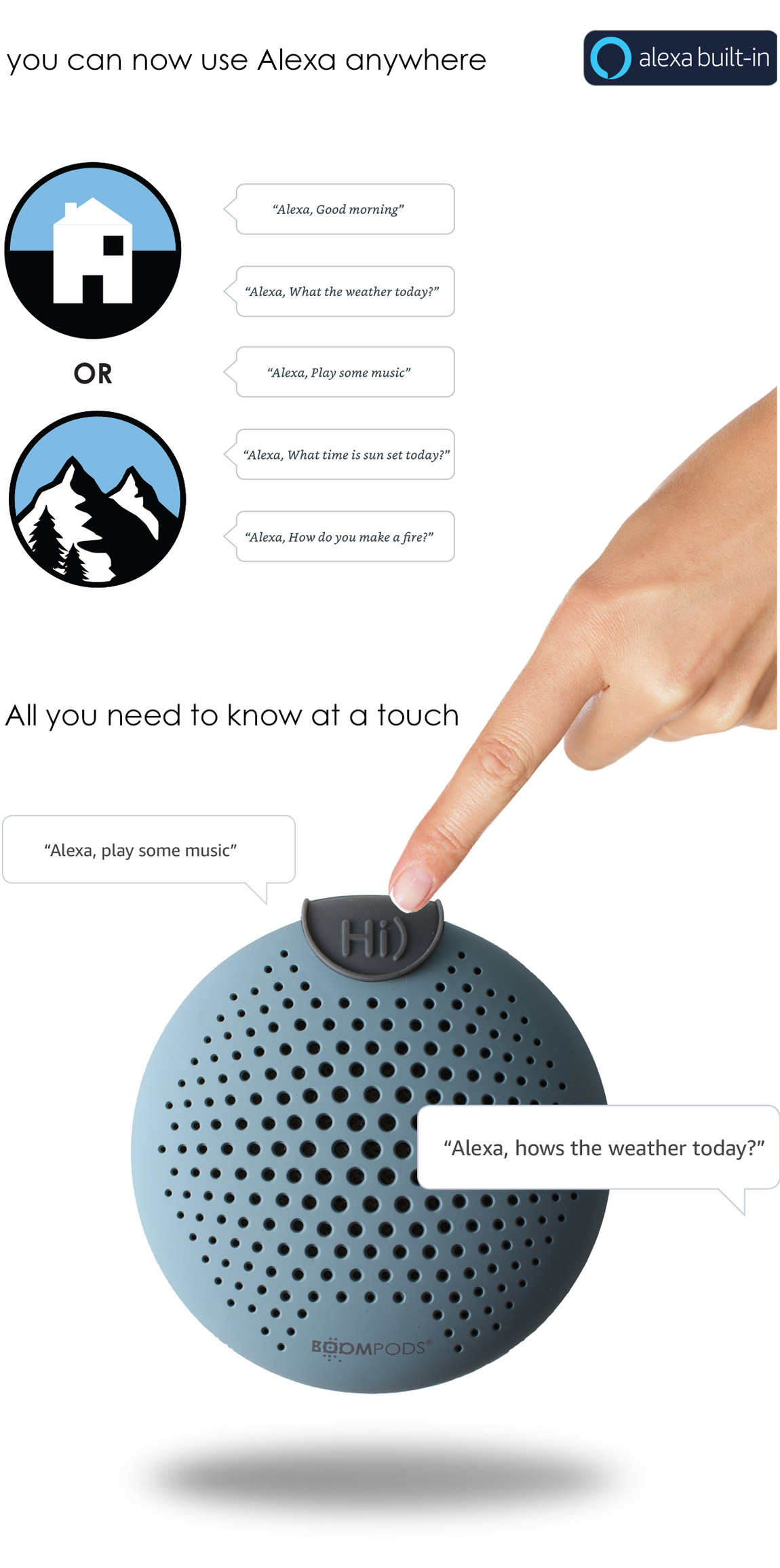 You can now use Alexa anywhere. Boompods Soundclip bluetooth Alexa speaker